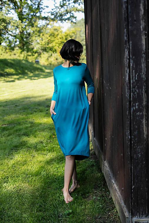 Šaty - Voľné šaty 3/4 rukáv bambusové petrolejové - 11611863_