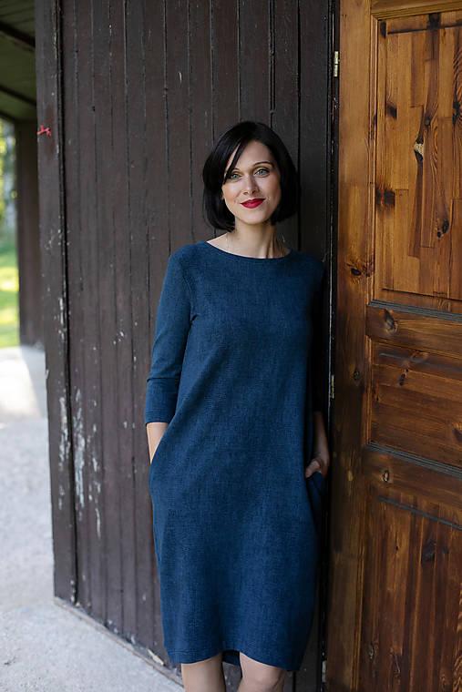 Šaty - Voľné šaty 3/4 rukáv bavlnené teplákové jeans tmavé - 11611941_