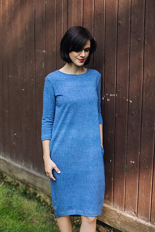 Šaty - Voľné šaty 3/4 rukáv bavlnené teplákové jeans svetlé - 11611961_