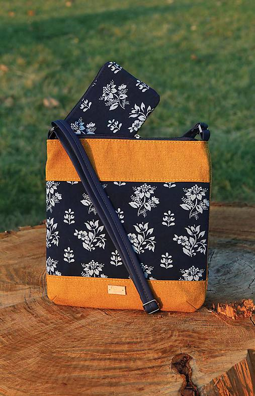 Modrotlačová kabelka Dara XL set žltá