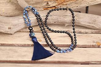 Náhrdelníky - Náhrdelník so strapcom a minerálmi jaspis a onyx - 11611971_