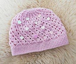 Detské čiapky - Ružova prechodná čiapočka s flitrami - 11611070_