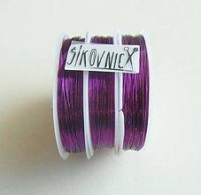 Suroviny - Farebný drôt, Ø 0,3 mm   (21 m, ružovo-fialová) - 11612965_