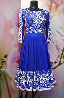 """Šaty - FLORAL FOLK """" Modrotlač """", spoločenské dvojdielne šaty - 11615023_"""