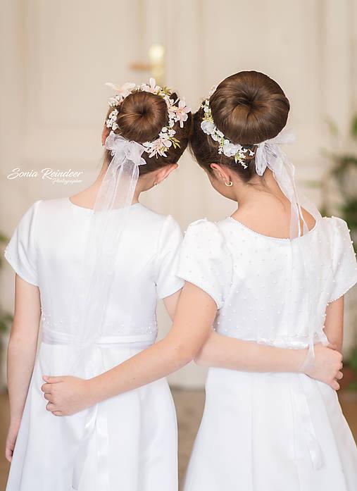 Ozdoby do vlasov - Novinka: ružový kvetinový venček do drdolu 2v1 - 11614859_