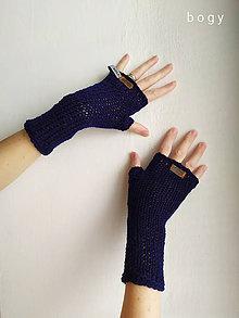 Rukavice - tmavě modré nátepníky pletené na mlýnku, dlouhé - 11614834_