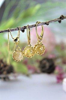 Sady šperkov - citrín náušnice s príveskom v striebre - luxusný set - 11615255_