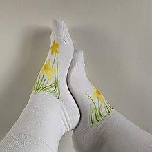 Obuv - Maľované kvetinkové ponožky (Narcisové 2) - 11614329_