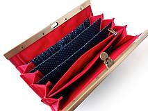 Peňaženky - Peňaženka s priehradkami Bodky (hexagóny) na modrej - 11612835_