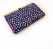 Peňaženky - Peňaženka s priehradkami Bodky (hexagóny) na modrej - 11612838_