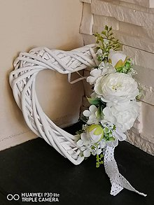 Dekorácie - Srdce bielo-ivory s krajkou 22cm - 11613839_