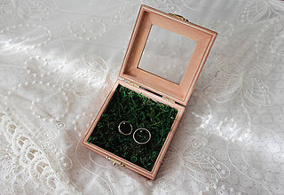 Prstene - Svadobná krabička drievko mach - 11614826_
