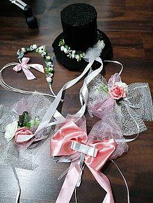 Dekorácie - Set na svadobné auto klobuk + srdce - 11614938_