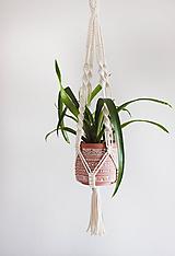"Nádoby - makramé držiak na kvet ""natural"" - 11616517_"