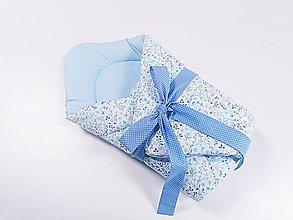 Textil - Zavinovačka modro-mentolové kvietky - 11615923_