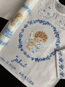 Detské oblečenie - Maľovaná košieľka do krstu- anjelik - 11616316_
