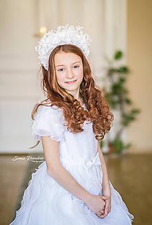 Ozdoby do vlasov - Čelenková korunka s čipkou biela vhodná pre nevesty alebo 1. sv. prijímanie - 11617557_