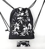 Batohy - Kvetovaná sada denim batoh + puzdro + darček - 11615791_