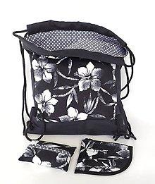 Batohy - Kvetovaná sada denim batoh + puzdro + darček - 11615793_
