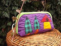 Taštičky - taštička fialová s domčekom - 11615611_