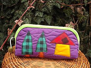 Taštičky - taštička fialová s domčekom - 11615614_