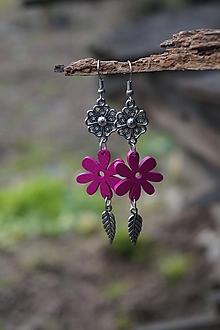 Náušnice - Fuchsiový kvet - 11617612_