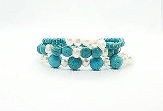 Náramky - Ochranné tyrkysovo-perlové náramky - sada 3 kusov - 11616088_