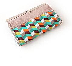 Peňaženky - Peňaženka s priehradkami geometria - 11615641_