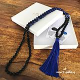 Náhrdelníky - Náhrdelník Japa Mala – Lapis Lazuli & Onyx & Sodalit - 11617735_