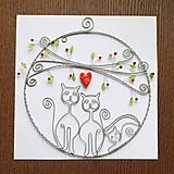 Dekorácie - mačky v kruhu 17cm pozinkovaný drôt - 11619944_