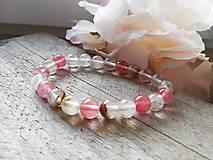Náramky - Náramok ružový krištáľ - 11621368_
