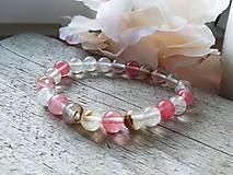 Náramky - Náramok ružový krištáľ - 11621369_
