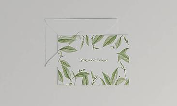 Papiernictvo - Veľkonočná akvarelová pohľadnica   botanická ilustrácia s titulkom Veľkonočné pozdravy - 11619840_