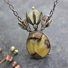 Náhrdelníky - Šafran - náhrdelník se septárií - 11620286_