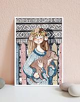 Obrázky - Dievča so psíkom, Čičmany - art print A5, A4 - 11620261_