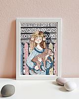 Obrázky - Dievča so psíkom, Čičmany - art print A5, A4 - 11620262_