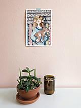 Obrázky - Dievča so psíkom, Čičmany - art print A5, A4 - 11620263_