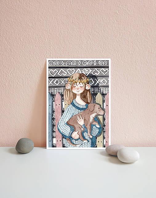 Dievča so psíkom, Čičmany - art print A5, A4