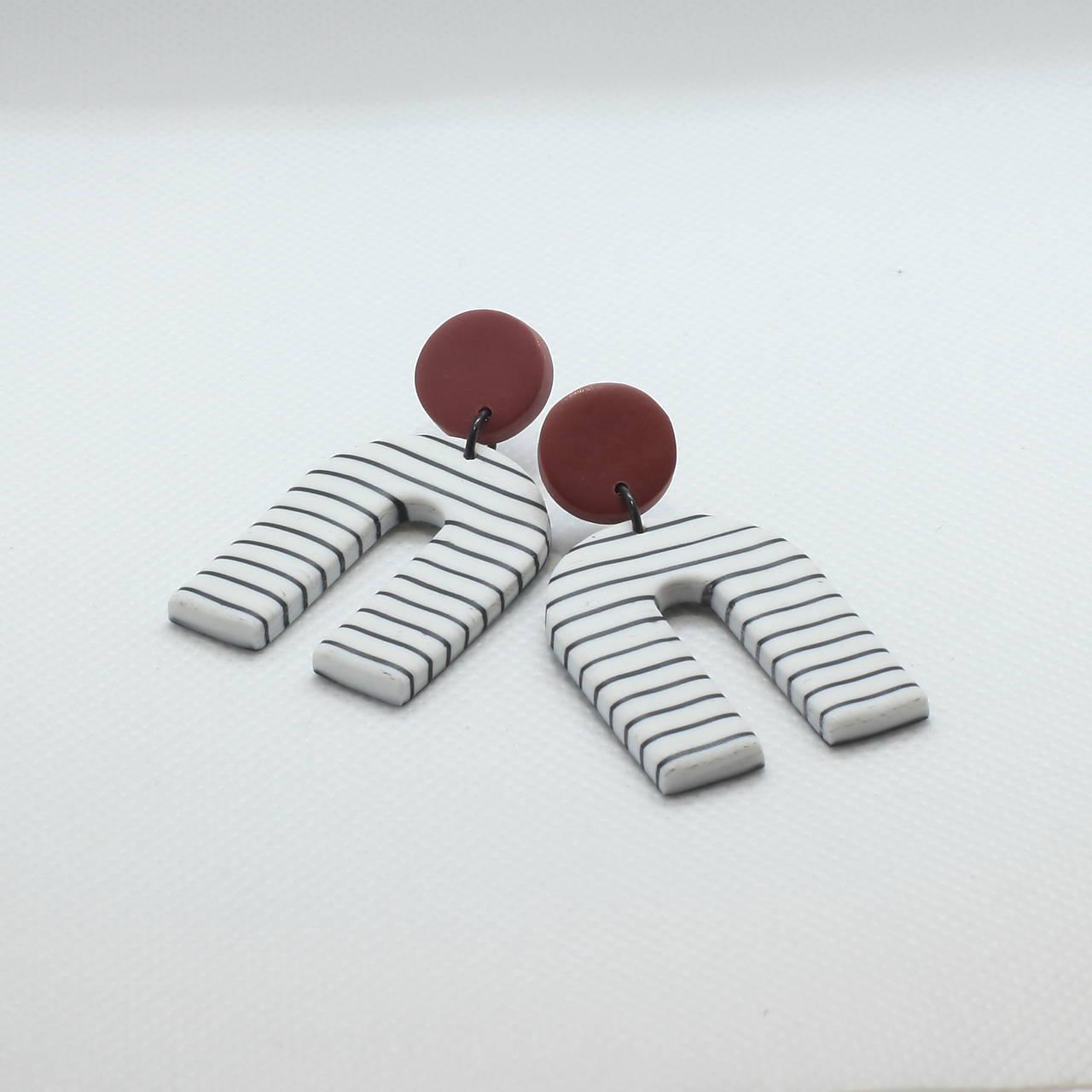 Náušnice - Pásikavé náušnice - škoricové - 11618642_