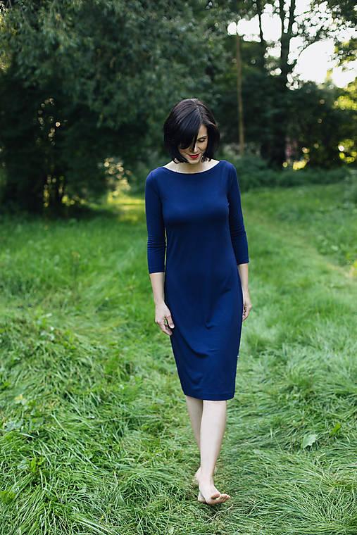 Šaty - Šaty s 3/4 rukávem bambusové tmavomodré - 11619654_