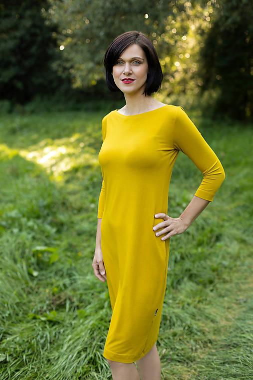 Šaty - Šaty s 3/4 rukávem bambusové hořčicové - 11619684_