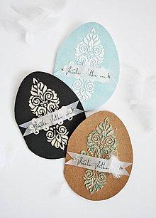 Papiernictvo - Veľkonočný pozdrav v tvare vajíčka s ornamentom - 11624739_