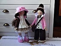 Bábiky - Ružovohnedý párik bábik - 11622338_