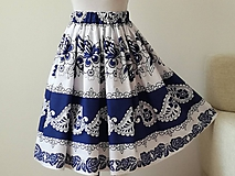 Sukne - Sukňa folklórna bielo-modrá - 11623374_