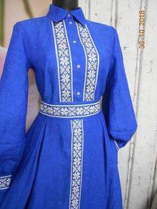 """Šaty - """"Floral folk"""" ľanové dlhé košeľové šaty - 11623420_"""