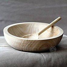 Nádoby - Veľká drevená lipová misa s naberačkou - 11623732_