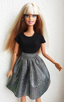 Hračky - Glitter čierna sukňa pre Barbie - 11623438_