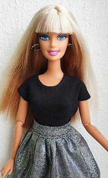 Hračky - Čierne tričko pre Barbie - 11623481_