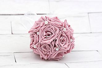 Kytice pre nevestu - Saténová kytica svadobná staroružová ruže malá - 11623270_