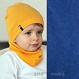 Detské súpravy - 100% merino Celoročný tenší set -modrá - 11625183_